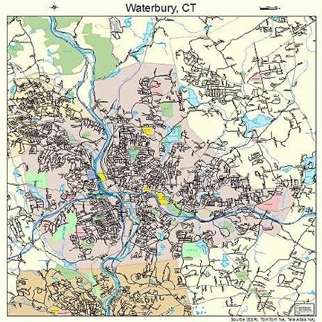 Amazon.com: Large Street & Road Map of Waterbury, Connecticut CT ...