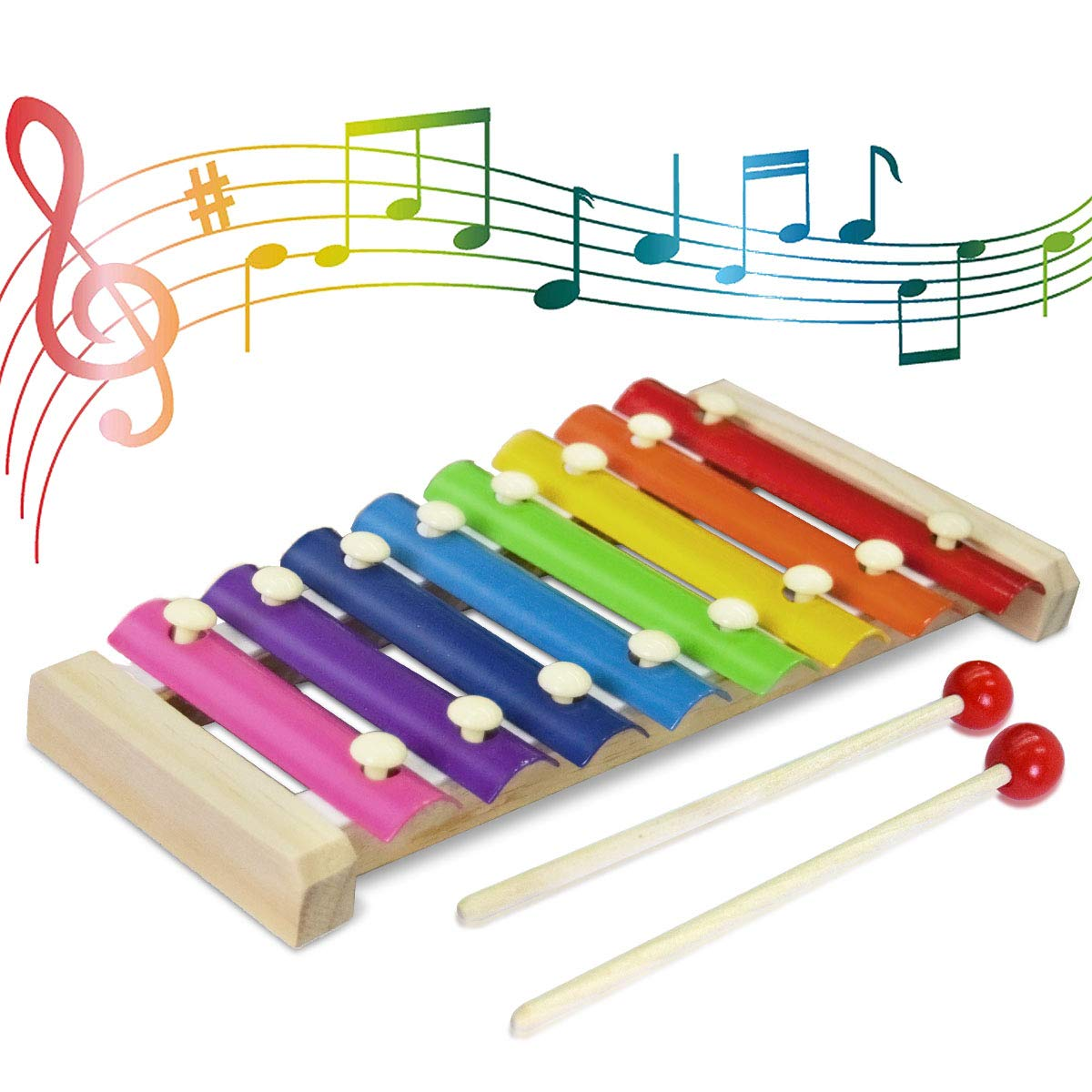 CACA Kids Toys Musical Instruments Include Xylophone Bells Maracas Percussion Toys, Early Education Learning Toys for Toddler, Baby and Preschool Children - 14 PCS