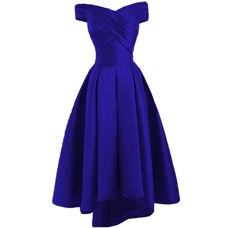 Royal bluee Dreagel Women's High Low Prom Dresses Off Shoulder Pleatd Evening Homecoming Dress