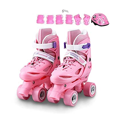 Rebily Children's Roller Skates Full Set 3-5-6-8-10 Years Old with Lights Roller Skates Roller Skates Double Row Wheel Adjustable Beginner Roller Skates Double Row Set (Color : Pink, Size : S): Home & Kitchen