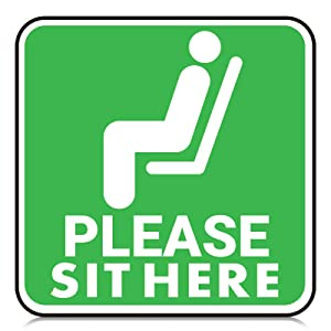 25 Pieces Please Sit Here Sticker Decal Sign, 6 Inch Maintain Distancing Chair Desk Sticker Sign, Re-Adjustable Water-Proof Safety Marker for Mall Restaurant Office Grocery (Green)