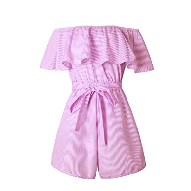 76754a281221 Roselux Women s Striped Ruffle Sleeveless Off Shoulder Tie Front Sexy Short Rompers  Jumpsuit(Pink
