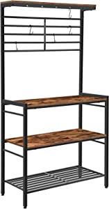 HOOBRO Kitchen Baker's Rack, Kitchen Microwave Oven Stand with High Display Shelf, 2 Wood Shelves and Mesh Panel, Kitchen Island Rack with 6 Hooks, Adjustable Feet, Metal Frame, Rustic Brown BF01HB01