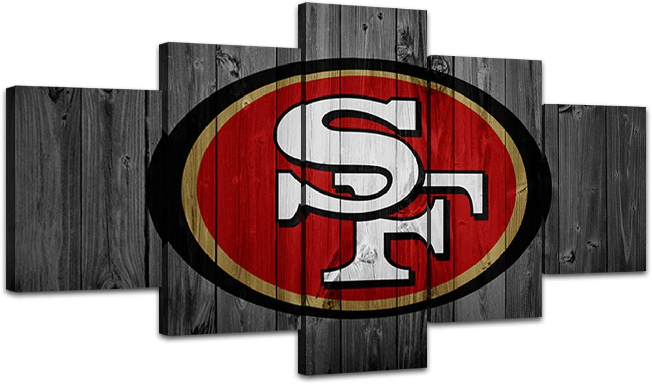 MIAUEN Canvas Art San Francisco 49ers Poster Living Room Wall Decor Pictures Sports Football Home Game Room Decoration Prints Framed Paintings Ready to Hang(60''Wx32''H)