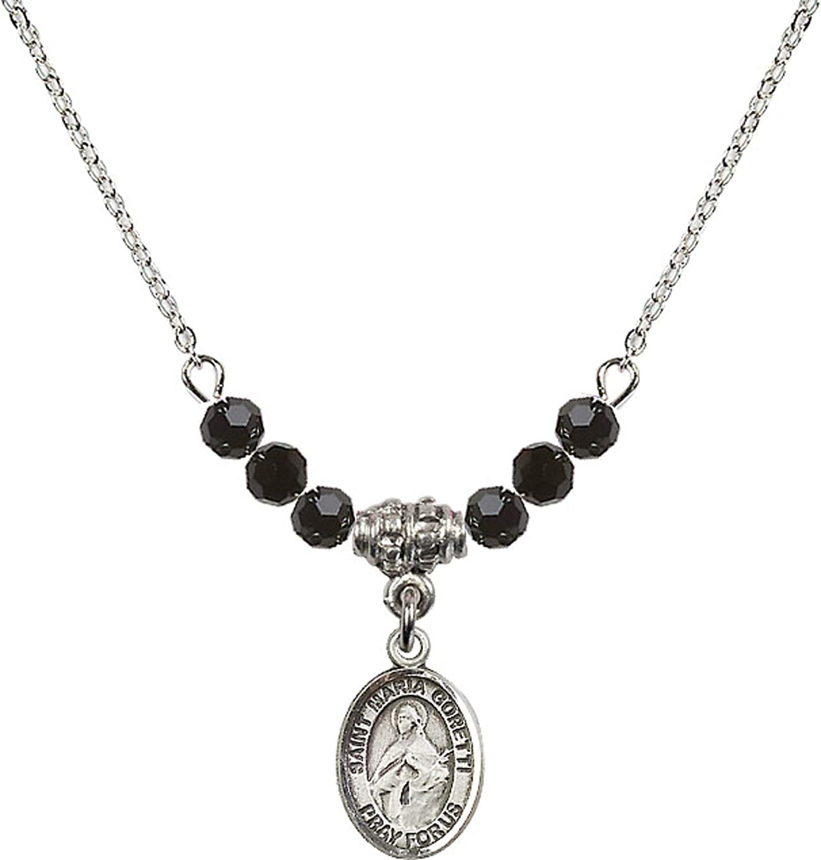 Bonyak Jewelry 18 Inch Rhodium Plated Necklace w// 4mm Jet Birth Month Stone Beads and Saint Maria Goretti Charm