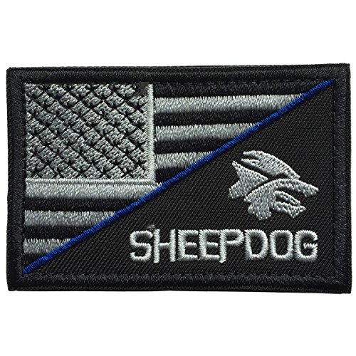 - SpaceCar Decorative Sheepdog w/ USA American Flag Thin Blue Line Embroidered Military Army Tactical Morale Badge Emblem Decal Patch 3