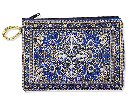 Religious Gifts Blue Tapestry Cloth Rosary Case Pouch Purse Keepsake Holder, 5 1/2 Inch