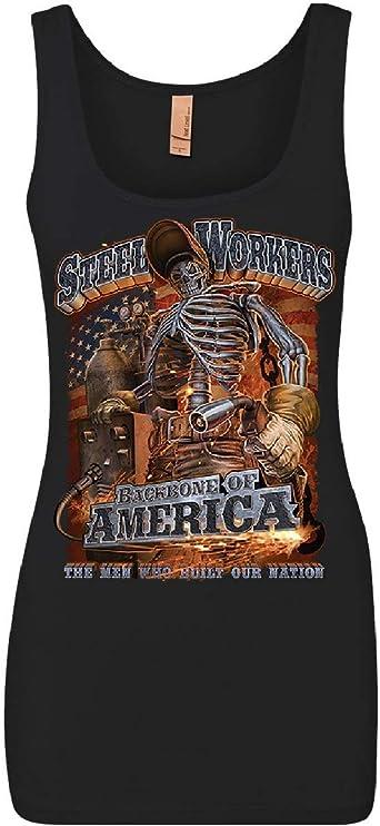 Steel Workers Backbone of America Womens Long Sleeve Tee Welding Iron Metal