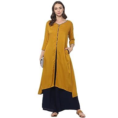 786652f512d Ziyaa Women s Mustard Color Flared Rayon Solid Kurta (ZIKURY2134 ...