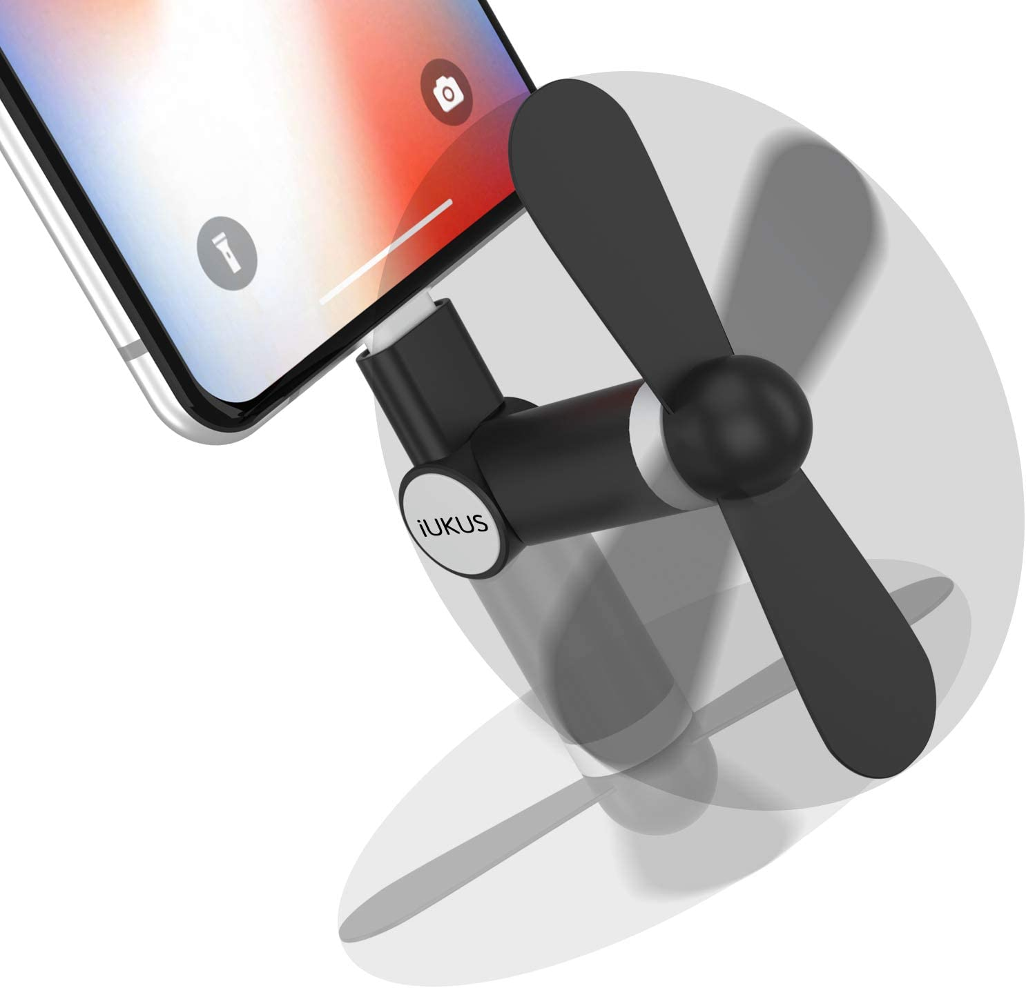 iUKUS Mini Phone Fan, [180 Rotating] Portable Mini Cooler Mobile Phone Fan Compatible with iPhone XS/XR/X/8/8+/7/7+/6, iPad, iPod (Black)