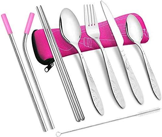 tableware-GQ Utensilios para Cubiertos de Camping Set de Cubiertos livianos de Acero Inoxidable Kit de Viaje con Cuchara Cuchillo Tenedor Palillos Viene en un Estuche (Rojo): Amazon.es: Hogar