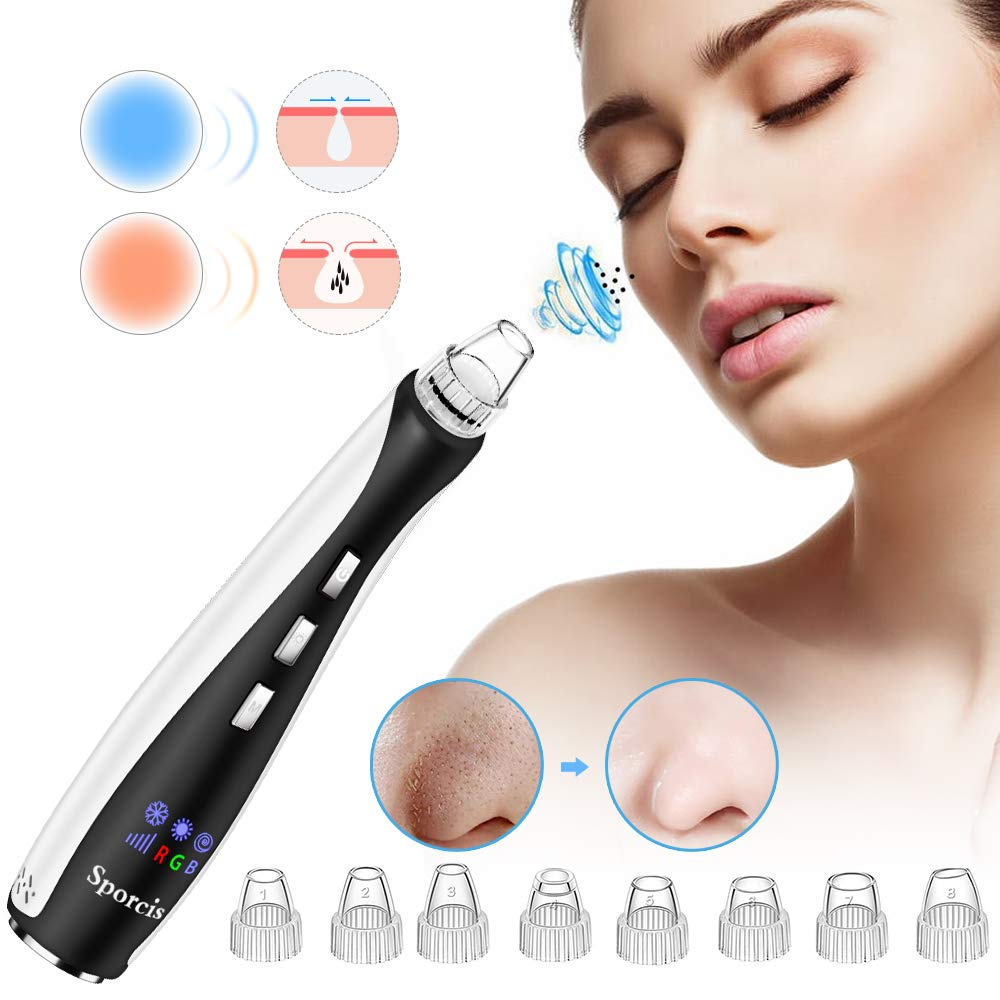 Blackhead Remover Vacuum – Electric Pore Vacuum with Hot Cold Massage Facial Cleaner Acne Comedone Extractor Tool with 10 Removable Suction Probe USB Rechargeable
