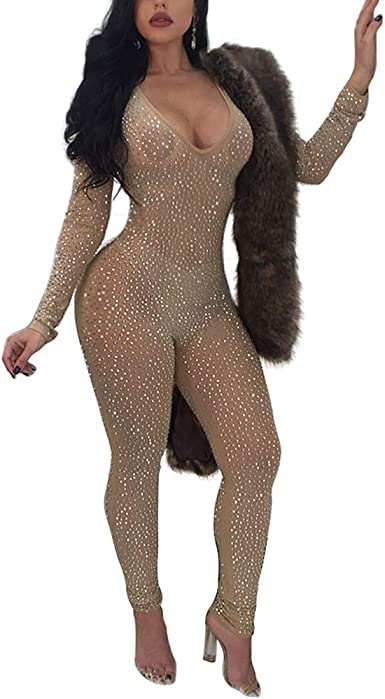 MS Mouse Womens Glitter Sequin Deep V Neck Long Sleeve Bodycon Jumpsuits Romper