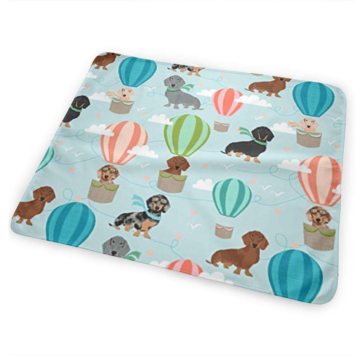 Unisex Kotdeqay Dachshund Hot Air Balloon Changing Pad /¨C Reusable Large Changing Pad Baby Changing Mat with Reinforced Seams