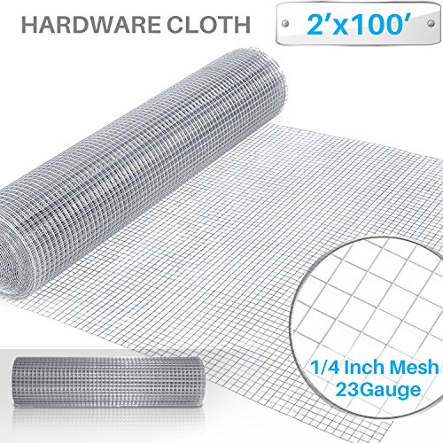 Patio Paradise 1/4 24-Inch x 100-Feet 23 Gauge Wire Mesh Galvanized Hardware Cloth for Garden Plant Rabbit Chicken Run Chain Link Fencing Guard Cage