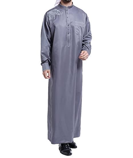 fc558f8b81f7 Qianliniuinc Muslim Islamic Pakistan Dubai Abaya Thobe Middle East Style  Embroidered Men s Clothing