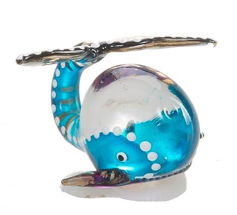 Amazon.com: Mini Ballena Azul Pez soplado de vidrio (soplado ...