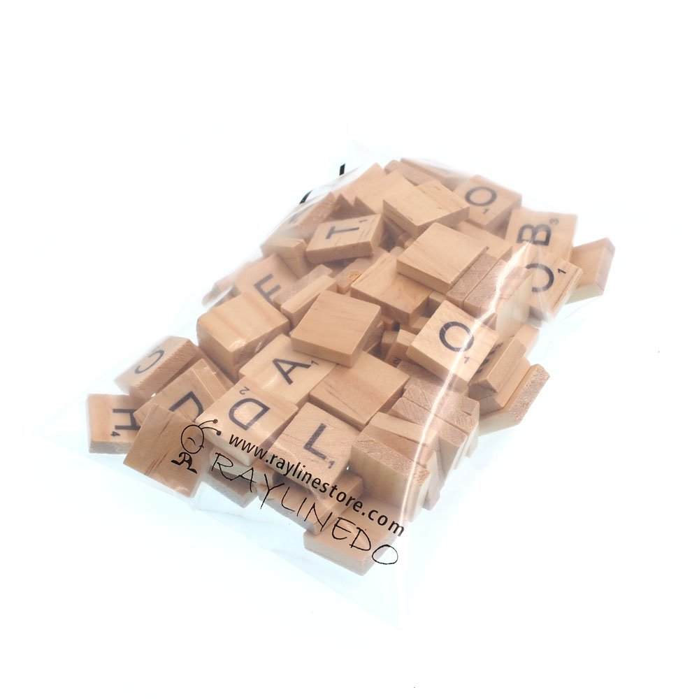 RayLineDo 100X Wooden Scrabble Tiles Letter Alphabet Scrabbles Number Crafts English Words Fixed