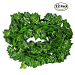 Tenchif 12 Pack Artificial Vines Leaves, 84 Feet Fake Greenery Ivy Garland Hanging Plants for Wedding Party Home Kitchen Garden Wall Swing Outdoor Decoration