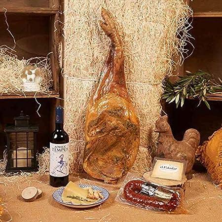 Cesta de Navidad 2019, Paleta Serrana Reserva, Turrón Alicante Artesanía, Vino Tinto Viña Del Oja Joven, Queso Oveja Curado Cuña, Caja Regalo Paleta - LOTE PALETA 500-9 Serrana