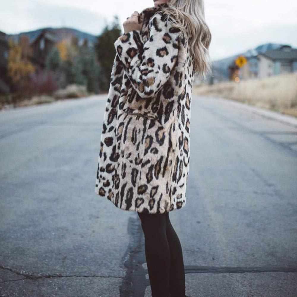 Botón de Manga Larga con Estampado de Leopardo para Mujer Chaqueta Tipo suéter Chaqueta suéter Suéter con Capucha de Invierno de Gran tamaño para Mujer Top ...