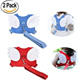 Baby Safety walking Harness-2 PACK Child Toddler Walking Anti-lost Belt Harness Reins with Leash Kids Assistant Strap Angel Wings Travel Backpack (Blue+Red)
