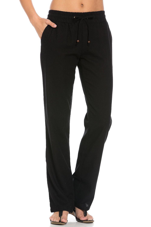 Poplooks Women's Comfy Fold Over Linen Pants at Amazon Women's ...