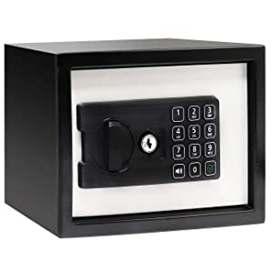 """Jolitac Digital Security Cabinet Safe Box Solid Steel, Small Electronic Depository Safe w/Deadbolt Lock Wall-Anchoring Home Office use for Deposit Money Gun Jewelry Cash 9""""x7""""x7"""" (0.26 Cubic Feet)"""