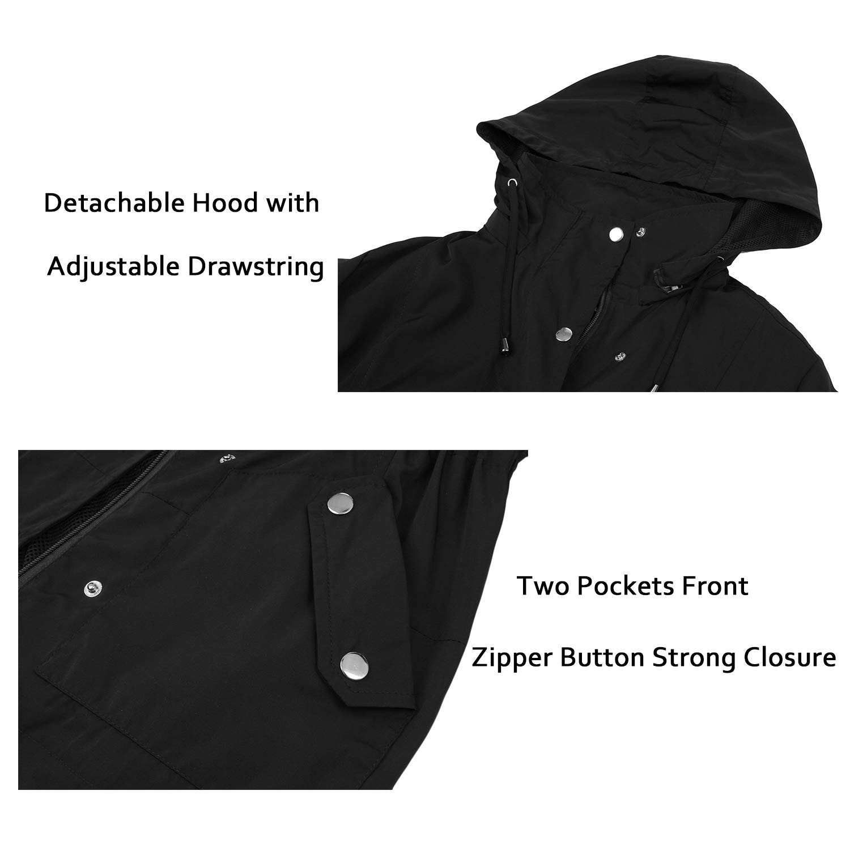 Uniboutique Womens Casual Rain Jacket with Hood Lightweight Outdoor Raincoat Waterproof