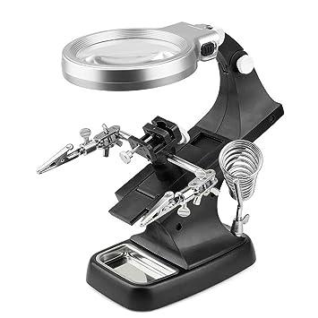 Lupa auxiliar para soldador de mano, pinza de cocodrilo, soporte de lupa de escritorio, abrazadera iluminada LED, negro: Amazon.es: Bricolaje y herramientas