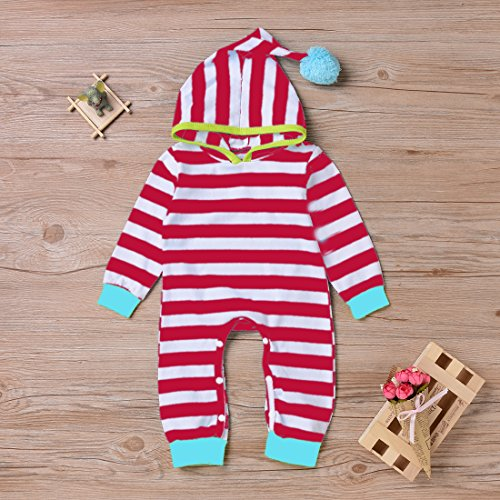 Newborn Baby Boy Girl Long Sleeve Striped Hooded Romper Jumpsuit Outfits