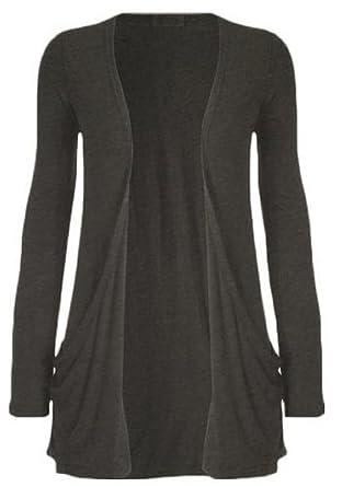cbf64251489 Womens Boyfriend Pocket Cardigan Shrug Sweater Charcoal Small Medium (6 8)