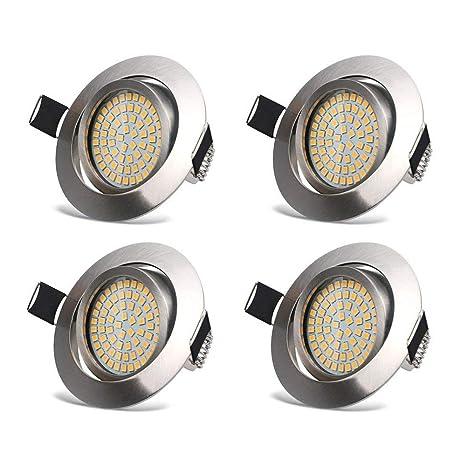 LED Focos Empotrables Luz de Techo 3.5W LED Extraplano Downlight Blanco Cálido 3000K 400LM Redondo Esmerilado Ángulo Rotable 40° IP20 protección para ...