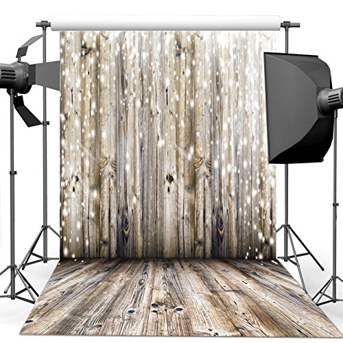 Dudaacvt 5x7Ft Photography Backdrop Vinyl Grey Wood Floor & Wall Photography Background Paper Studio Props M0010507