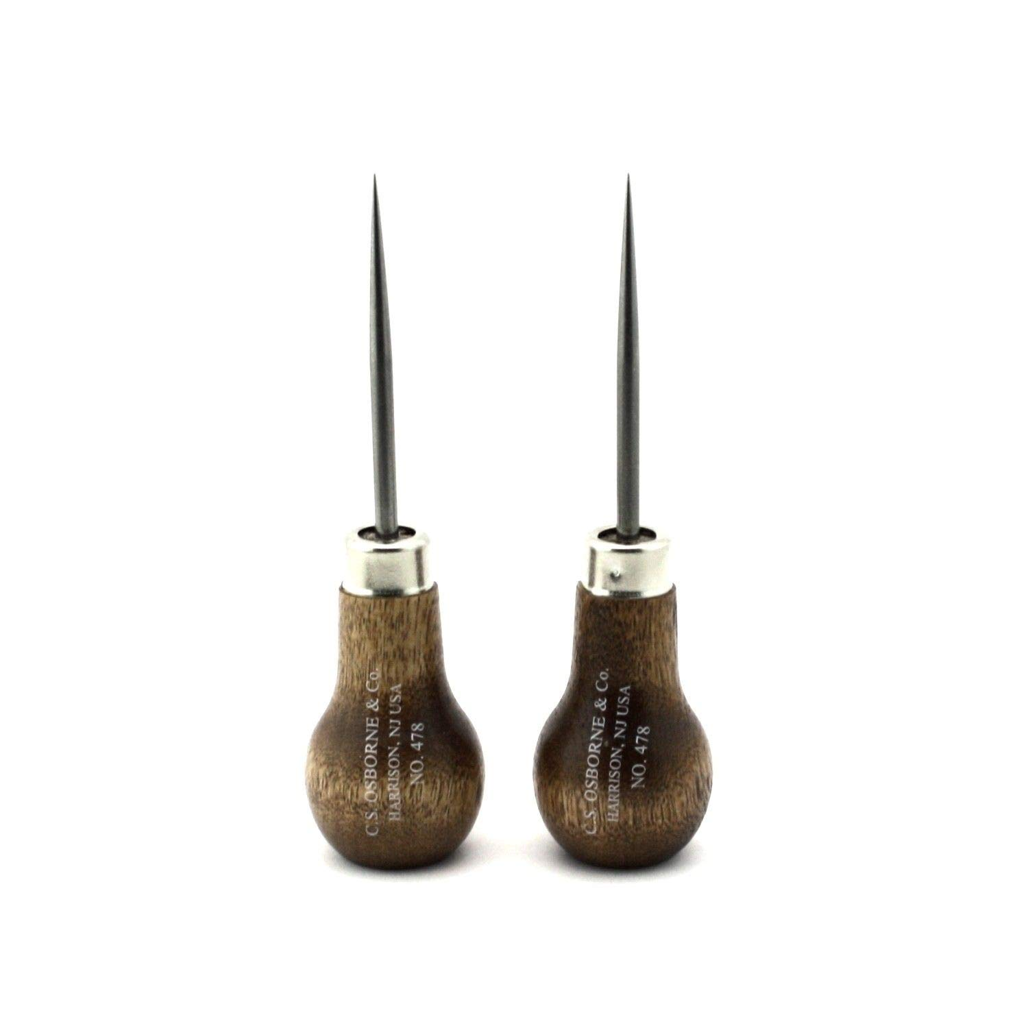 Leather Tools Made in USA Set of 2 C.S Osborne Scratch Awl #478 3-7//8 Long