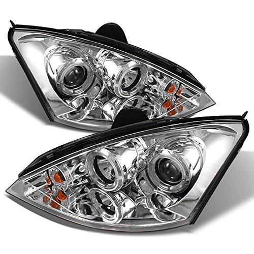 Ford 2000-2004 Focus Chrome Projector Dual Halo Headlights Front Lamp W/City Lights - Focus Dual Halo Projector Headlights