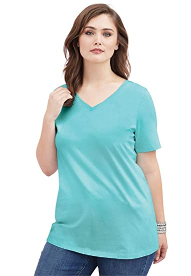 275a26583ca Image Unavailable. Image not available for. Color  Roamans Women s Plus  Size Ultimate V-Neck Tee