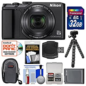 Nikon Coolpix A900 4K Wi-Fi Digital Camera (Black) with 32GB Card + Case + Battery + Flex Tripod + Kit