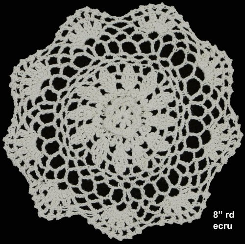 """Creative Linens 6PCS 8"""" Round Crochet Lace Doily Beige 100% Cotton Handmade, Set of 6 Pieces 2 Beige Crochet Lace Doily Set, handmade 8"""" round each piece, Set of 6 pieces Matching crocheted sunflower daisy placemats, table runners, dresser scarf, napkins, tablecloths, kitchen curtains and doilies in different sizes available"""