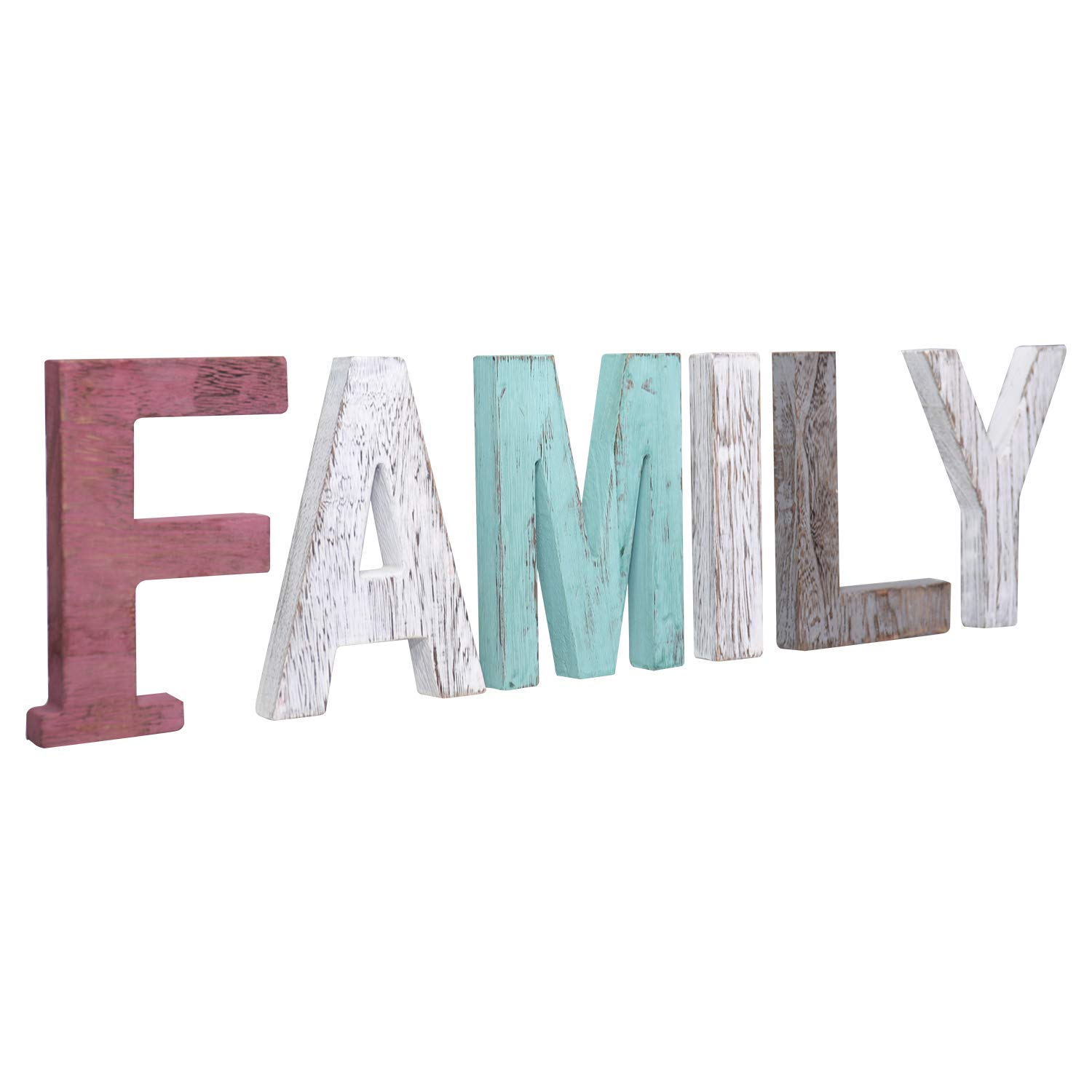 Y&Me Rustic Wood Family Sign, Decorative Wooden Block Word Signs, Freestanding Wooden Letters, Rustic Family Signs for Home Decor, 24.8 x 6 Inch, Multicolor (Family)