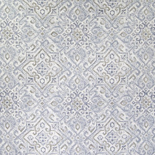 Platinum Gray Geometric Scroll Medallion Linen Print Upholstery Fabric by the yard