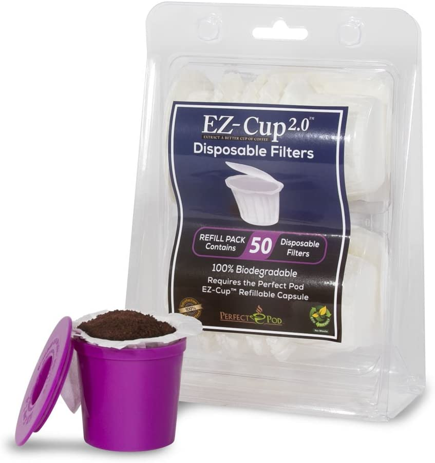 Perfect Pod EZ-Cup Disposable Paper Filters with Patented Lid Design for Reusable Coffee Pods 4-Pack (200 Filters) 61SwNZW3WtL