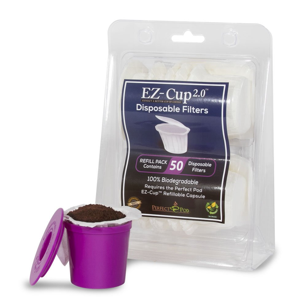 Perfect Pod EZ-Cup Disposable Paper Filters with Patented Lid Design for Reusable Coffee Pods 4-Pack (200 Filters) by Perfect Pod