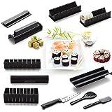 AGPtek 10PCS Outils plus 1 Sushi Couteau Sushi Maker Kit de Moule à faire Sushi et Roll de Riz DIY Cuisine Simple Set de Moule à Couper Roll, Idéal pour Cadeau