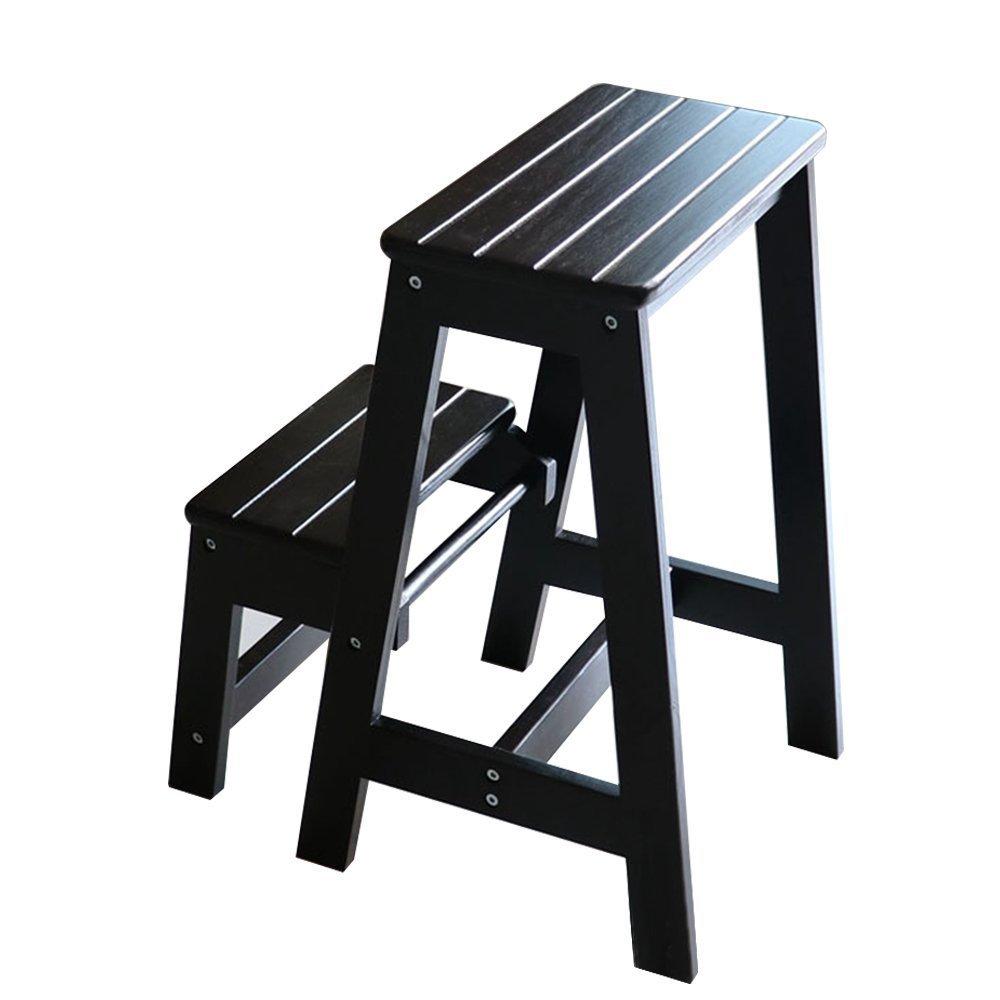 Vogvigo 2 Tier Foldding Stool Wood Step Stool, Black Folding Step Stool Wood Ladder by Vogvigo (Image #1)