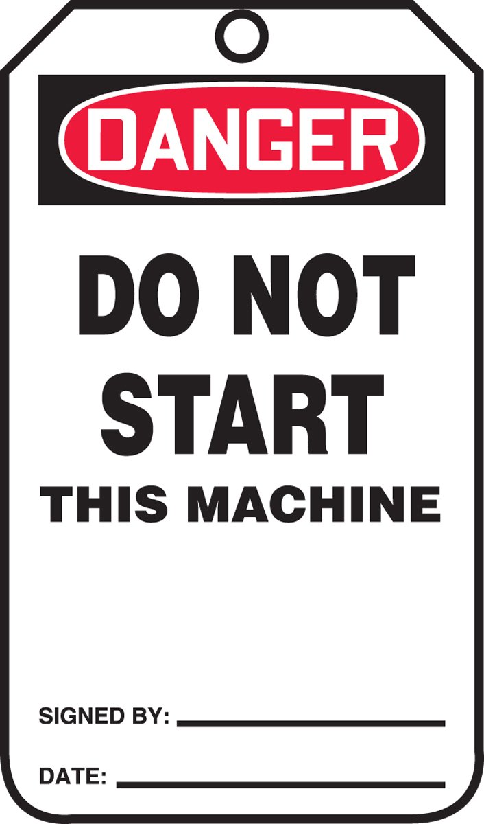 Accuform MDT124CTP PF-Cardstock SAFETY Tag, Legend''DANGER Do Not Start This Machine'', 5.75'' Length x 3.25'' Width x 0.010'' Thickness, Red/Black on White (Pack of 25)
