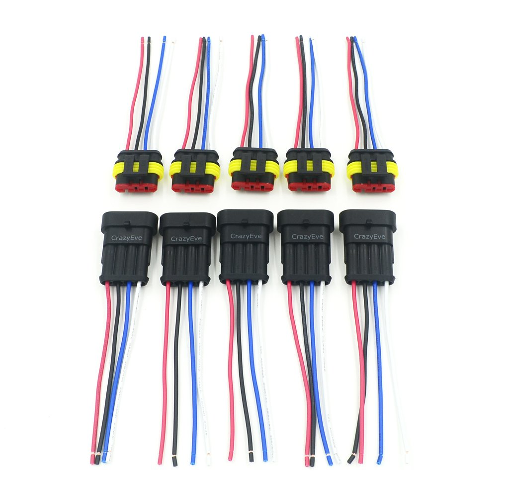 Amazon.com: CrazyEve 5 Sets 4 Pin Car Waterproof Electrical ...