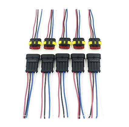 Amazon.com: CrazyEve 5 Sets 4 Pin Car Waterproof Electrical ...