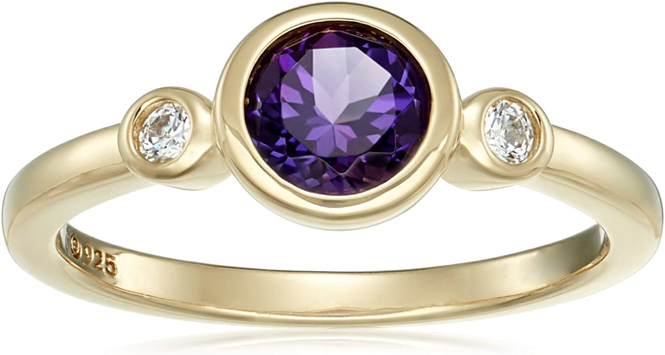 Cluster Ring Gift Silver Platinum Plated Zircon Amethyst Jewelry for Women