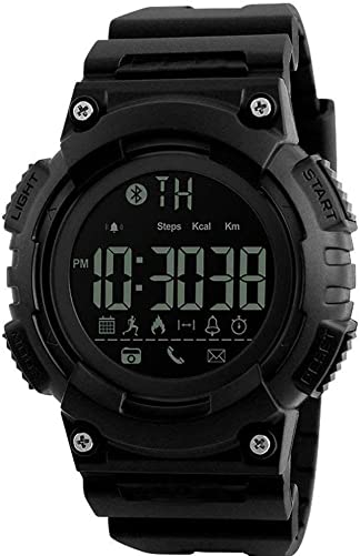 MIFAVOR Outdoor Men Watch Sports Waterproof Smart Watches Digital Army with Bluetooth Call SMS Notification Pedometer Calorie Remote Camera for iOS Android Black